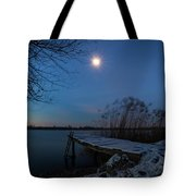 Moonlight Over The Lake Tote Bag by Davor Zerjav