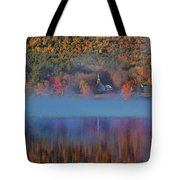 Morning Misty Reflection Of Eaton Church Tote Bag by Jeff Folger