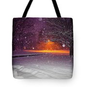 Morning Snow Tote Bag by Randy Sylvia