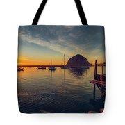 Morro Bay Harbor Sunset Tote Bag