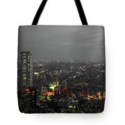 Mostly Black And White Tokyo Skyline At Night With Vibrant Selective Colors Tote Bag