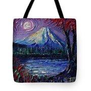 Mount Fuji - Textural Impressionist Palette Knife Impasto Oil Painting Mona Edulesco Tote Bag