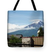 Mount Fuyji From A Distance With Clouds Around It Tote Bag