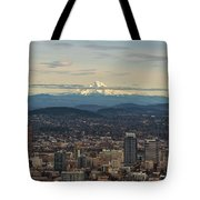 Mount Hood View Over Portland Cityscape Tote Bag