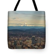 Mount Hood View Over Portland Cityscape Panorama Tote Bag