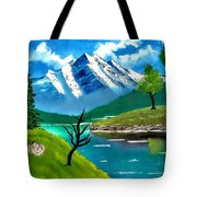 Mountain By The Lake Tote Bag