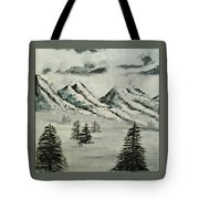 Mountain Foggy Dawn - In Abstract Realism Tote Bag