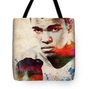 Muhammad Ali Watercolor Portrait Tote Bag