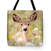Mule Deer Fawn Lying In Wildflowers Tote Bag