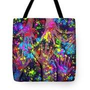 Multicoloured Powder Hands Panoramic Tote Bag