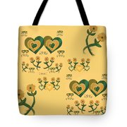 Multiple Tilted Hearts Bronze II Tote Bag