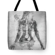 Music Was My First Love In Black And White Tote Bag