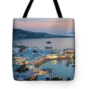 Mykonos Town At Sunset Mykonos Cyclades Greece  Tote Bag