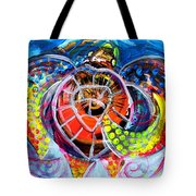 Neon Sea Turtle Wake And Drag Tote Bag