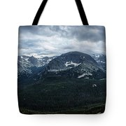 Never Summer Mountains Panorama Tote Bag by Andy Konieczny