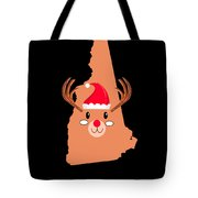 New Hampshire Christmas Antler Red Nose Reindeer Tote Bag