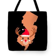 New Jersey Christmas Hat Antler Red Nose Reindeer Tote Bag