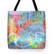 New Orleans Map Watercolor Tote Bag