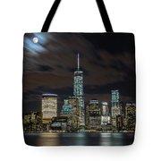 New York City Skyline At Night Tote Bag