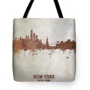 New York Rust Skyline Tote Bag