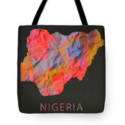 Nigeria Tie Dye Country Map Tote Bag