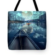 Night Blues Reflections  Tote Bag
