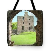 Norham Castle And Tower Through The Entrance Gate Tote Bag