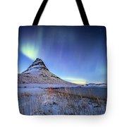 Northern Lights Atop Kirkjufell Iceland Tote Bag by Nathan Bush