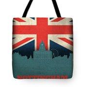 Nottingham England City Skyline Flag Tote Bag