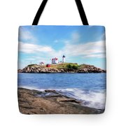 Nubble Lighthouse Tote Bag by Sharon Seaward