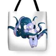 Octopus And Purple Bear Tote Bag