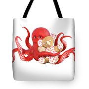 Octopus Red With Bear Tote Bag