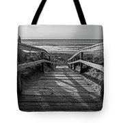 Ogunquit Beach Footbridge At Sunrise Ogunquit Maine Black And White Tote Bag