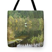old boathouse at Loch Ard near Aberfoyle in autumn Tote Bag