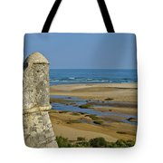 Old Fortress Guarding Tower In Portugal Tote Bag