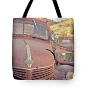 Old Friends Two Rusty Vintage Cars Jerome Arizona Tote Bag
