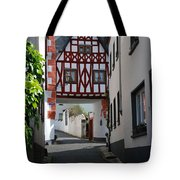 old historic street and woodframed house in Ediger Germany Tote Bag
