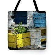 Old Pallet Painted White, Blue And Yellow Used As Flower Pot Tote Bag