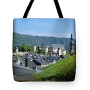 old town walls and church and buildings of Cochem Tote Bag