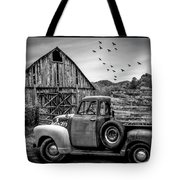 Old Truck At The Barn Bordered Black And White Tote Bag