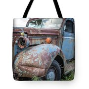 Old Vintage Blue Pickup Truck Among The Weeds Tote Bag