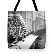 Old Water Wheel Certovka Canal Prague Black And White Tote Bag
