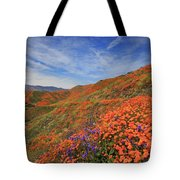 Oodles Of Poppies Fill The Walker Canyon Of Lake Elsinore, Calif Tote Bag