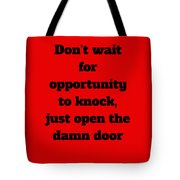 Open The Door      Black On Red Tote Bag by Edward Lee