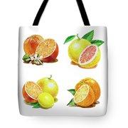 Orange Grapefruit Lemon Watercolor Fruit Illustration Tote Bag