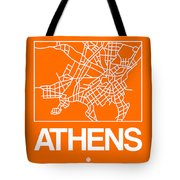 Orange Map Of Athens Tote Bag