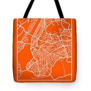 Orange Map Of New York Tote Bag