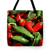 Organic Red And Green Peppers Tote Bag
