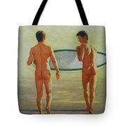 Original  Man Body Oil Painting  Gay Art -two Male Nude By The Sea#16-2-3-02 Tote Bag