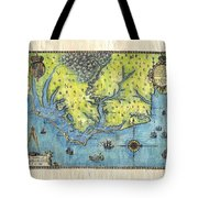 Outer Banks Historic Antique Map Hand Painted Tote Bag